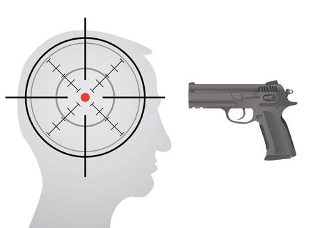 crosshair: crosshair in head, gun in front of the head - silhouette illustration