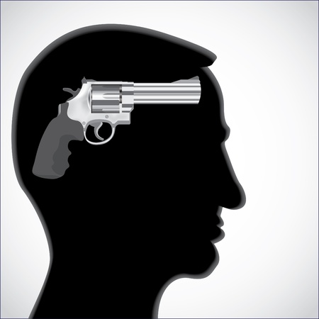 Human head silhouette with revolver gun - illustration Vector