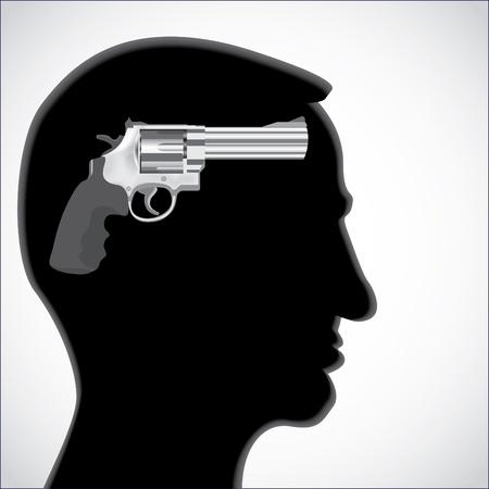 Human head silhouette with revolver gun - illustration Vector