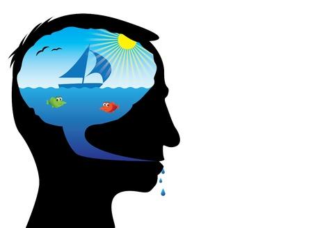 salt free: Head with holiday idea inside - ilustration Illustration