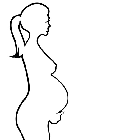 pregnant naked woman silhouette - illustration Vector