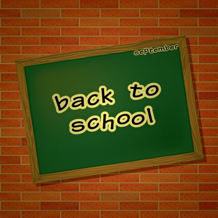 Back to school theme with table and letters on brick wall background Vector