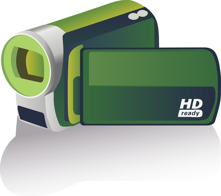 Green colored hd camcorder - illustration Vector