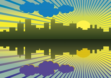 morning city panorama picture - illustration Stock Vector - 14886415