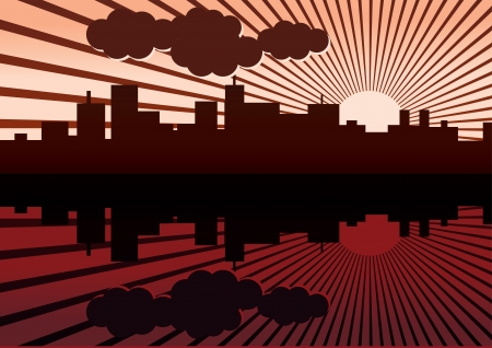 dimming: evening city panorama picture - illustration Illustration