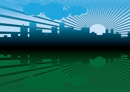 rising graphic: morning city panorama picture - illustration