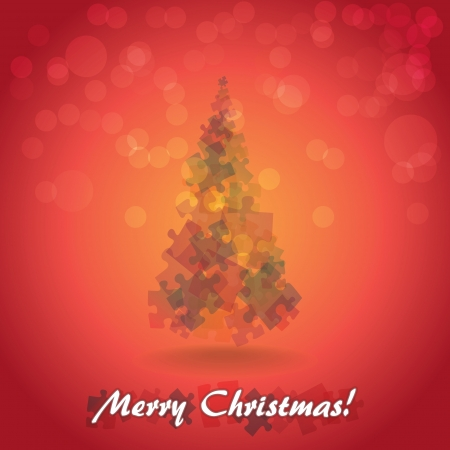x mas background: Abstract christmas tree from pieces of puzzle - illustration Illustration