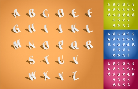 set of 3d illustration of paper fonts Vector
