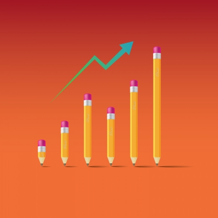Business graph from pencils - illustration Vector