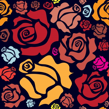 flowers close up: seamless pattern of color roses - illustration