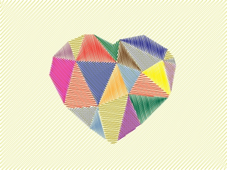 diamond heart sketch illustration, card Vector