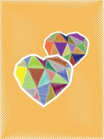 coeur diamant: illustration diamant croquis c?ur, carte Illustration