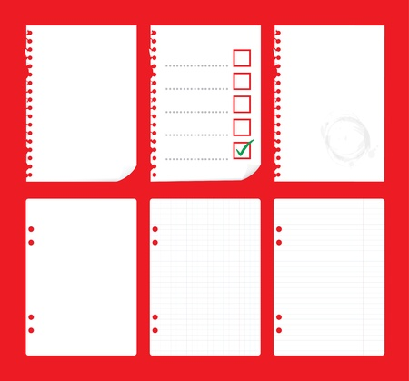 old notebook: set of blank paper sheets - illustration