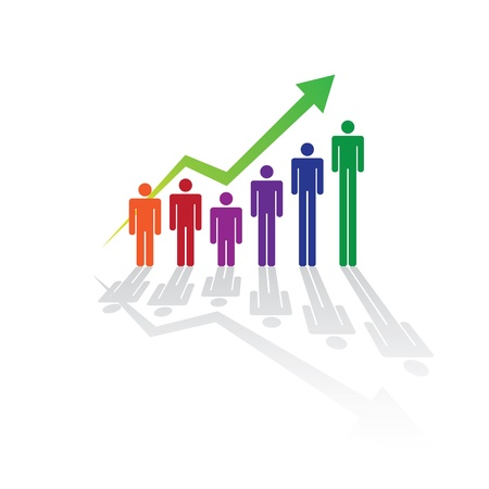 Grownin people in graph concept, illustration