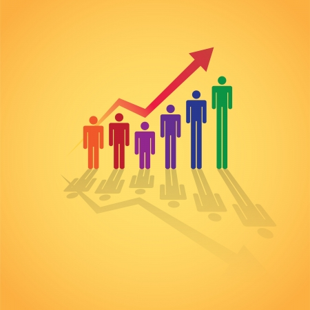 Grownin people in graph concept, illustration Vector