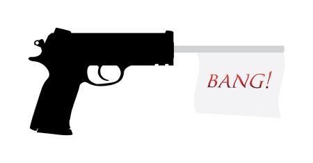geweer: pistool met knal vlag illustratie Stock Illustratie