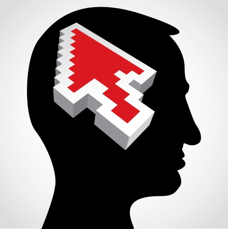 red arrow in a human head Stock Vector - 15360457