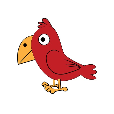 fowl: cute standing bird - funny illustration