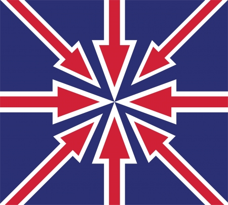 abstract UK flag created from red arrows Vector