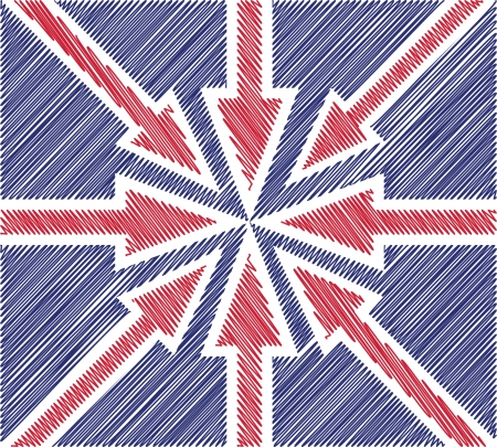 abstract UK flag created from red arrows Stock Vector - 15360473