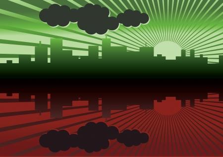 sol naciente: ciudad mañana panorama de imagen - ilustración Vectores