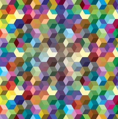 red cube: Abstract background da cubi di colore, illustrazione