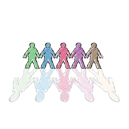 color human figures in row - illustration Stock Vector - 15360472