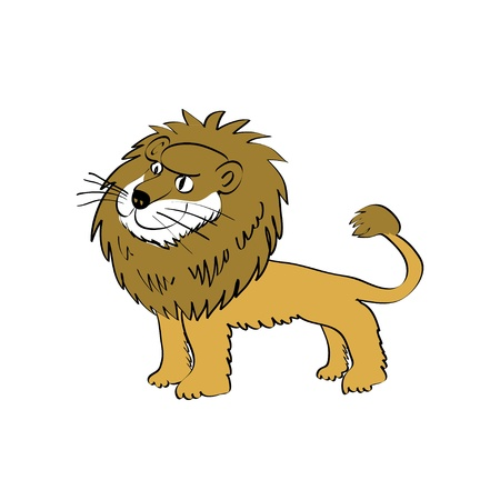 Cute cartoon lion image - illustration Vector
