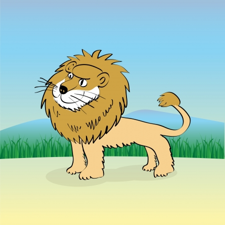 Cute cartoon lion in nature - illustration Vector