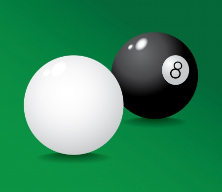 8 ball pool: Realistic pool ball 8 and white - illustration