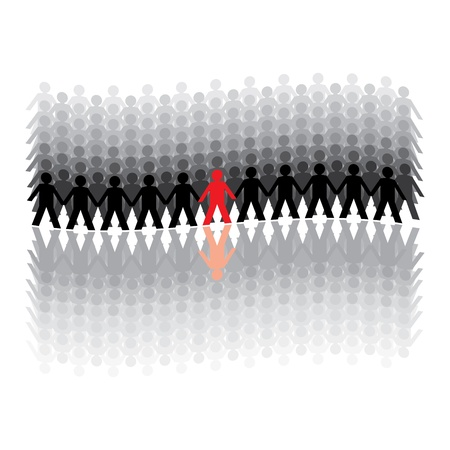human figures in a waved row - illustration Vector