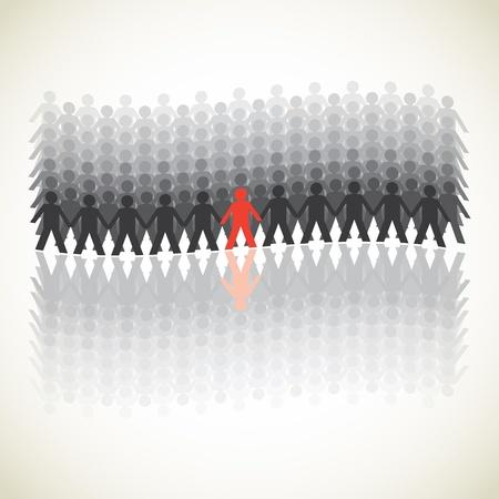 demonstrative: human figures in a waved row - illustration Illustration