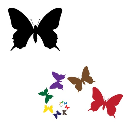 black butterfly: colour silhouettes butterflies illustration