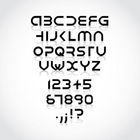 futuristic alphabet font with shadows - illustration