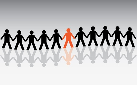 group chain: human figures in a waved row - illustration Illustration