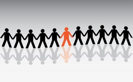 chainlinked: menselijke figuren in een golvende rij - illustratie Stock Illustratie