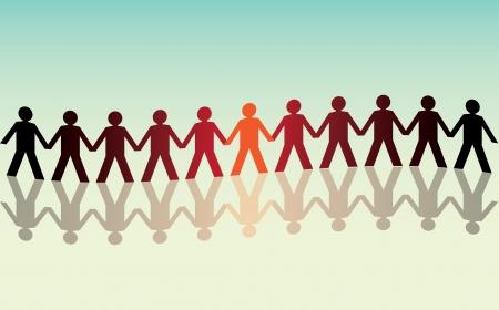 linked hands: human figures in a waved row - illustration Illustration