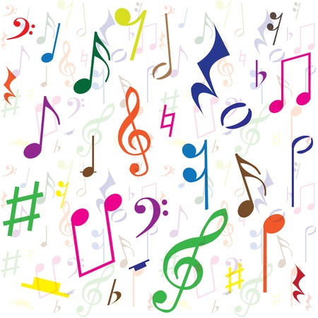 Background created from music notes, illustration Vector