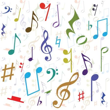clave de fa: Fondo creado a partir de notas de la música, la ilustración