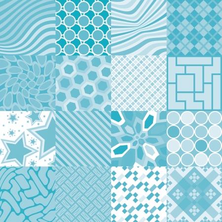 bathroom tile: 16 patterns of square tiles - illustration Illustration