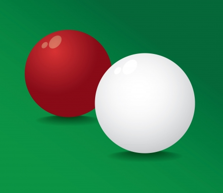 Realistic pool ball full red and white - illustration Vector