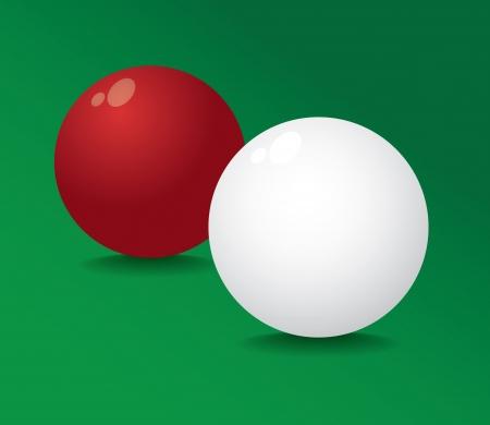 full red: Realistico piscina palla piena rosso e bianco - illustrazione Vettoriali