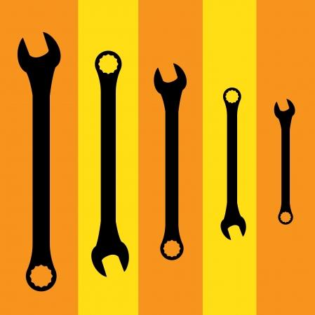 Stainless steel spanners silhouette illustration Illustration