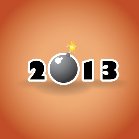 2013 concept with exploding planet Earth as bomb, illustration Vector