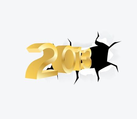neue Jahr 2013 durch das Loch im Papier - illustration
