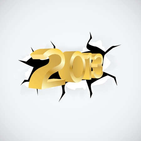 the turn of the year: new year 2013 passes through the hole in paper - illustration