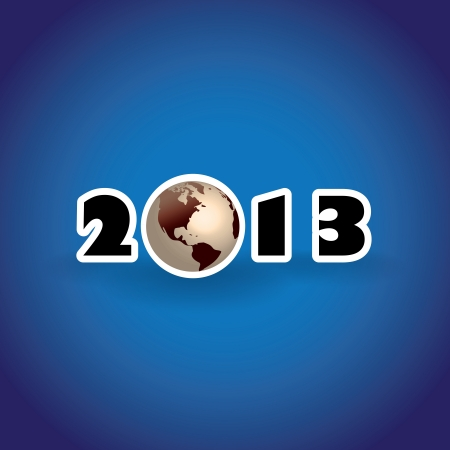 2013 concept with planet Earth, illustration Vector