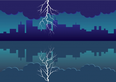 sea side: city panorama picture with comming storm and flash in the sky - illustration