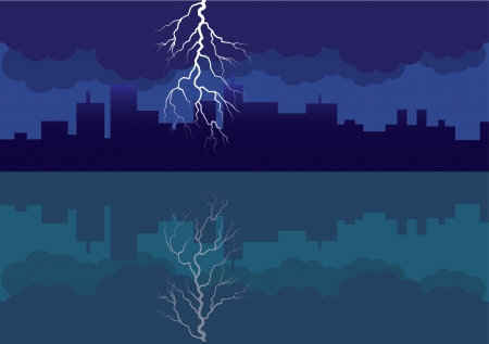 city panorama picture with comming storm and flash in the sky - illustration Vector