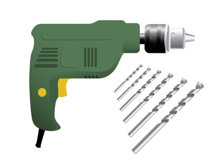 the electric drill on white background Vector